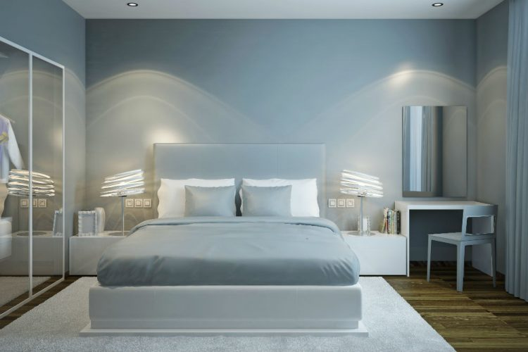 A Scandinavian style bedroom decorated in shades of grey
