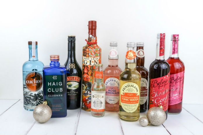A selection of spirits and non-alcoholic drinks