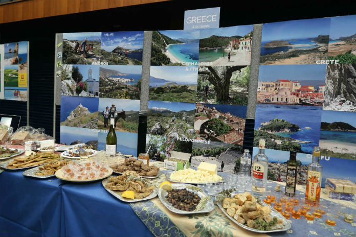A table filled with Greek food and drink at the Inntravel Discovery Day 2017