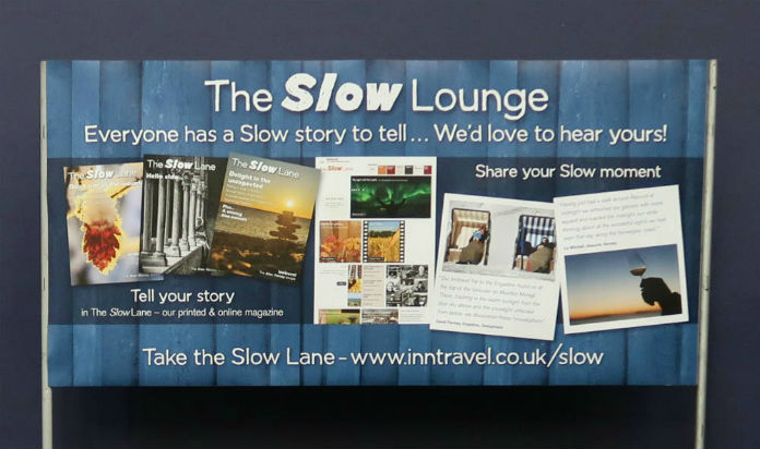 Slow Travel banner at the Inntravel Discovery Day 2017 at Cheltenham Racecourse