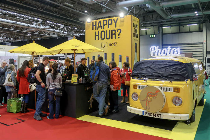 The Yellow Tail Wines stand at the BBC Good Food Show, at the Birmingham NEC, December 2017