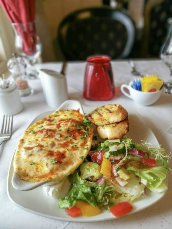 A very cheesey lasagne with garlic bread and salad, from the lunch menu at The Old Brewhouse in Arbroath