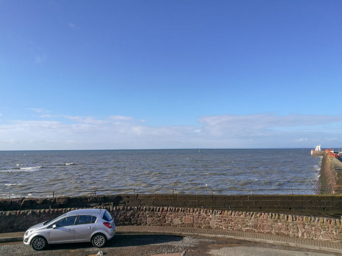 The sea view outside the door at The Old Brewhouse in Arbroath
