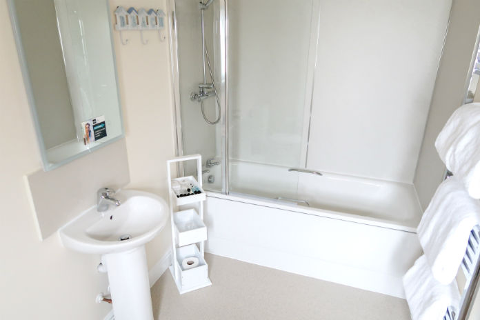 The ensuite facilities at the Seagate room at The Old Brewhouse in Arbroath