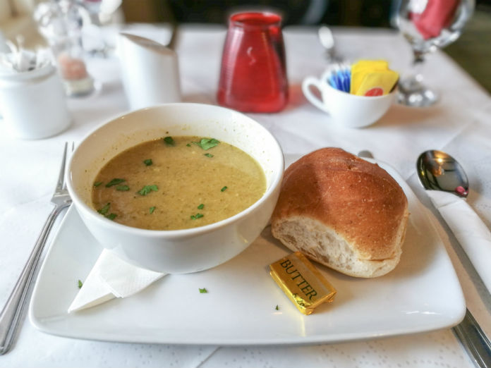 A hearty bowl of Broccoli and Stilton soup at The Old Brewhouse in Arbroath