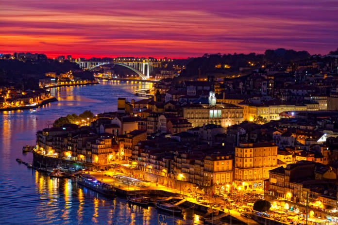 The beautiful Portuguese city of Porto at night. A great location for a romantic city break in Europe