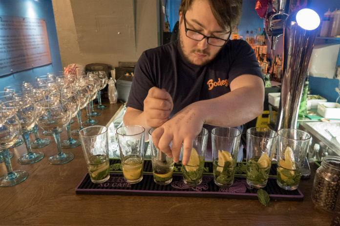 Mixing mocktails at the Bodega Cantina in Birmingham