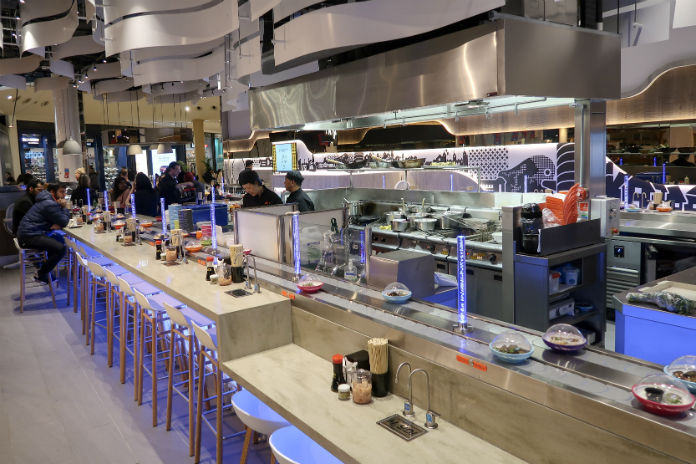 Clean lines, blond wood and chrome form the decor at Yo! Sushi Selfridges Birmingham