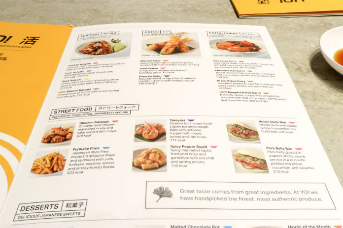 The Yo! Sushi street food menu