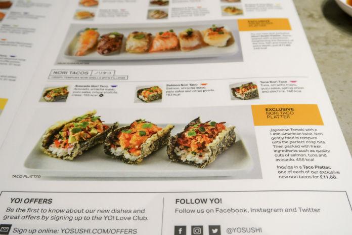 The Nori Taco platter in the exclusive Selfridges Yo! Sushi menu