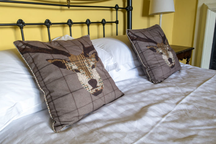 High quality bed linens throughout at Castle House, Taunton, Somerset, UK
