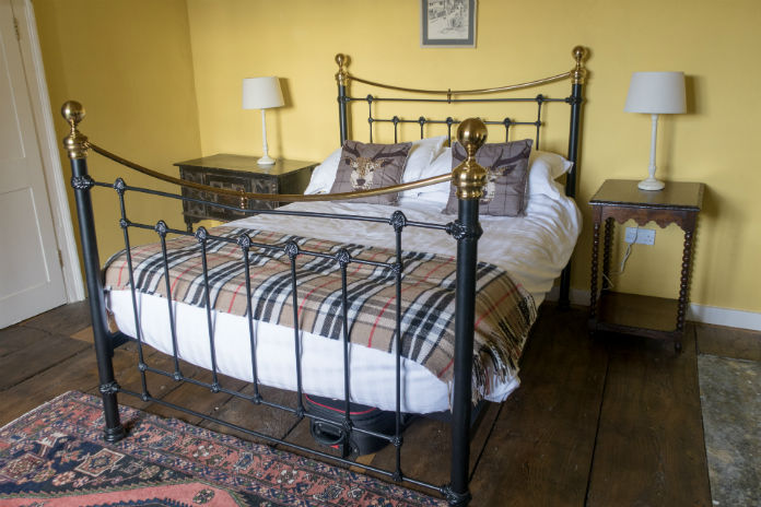 A sunny double bedroom at Castle House, Taunton, Somerset, UK