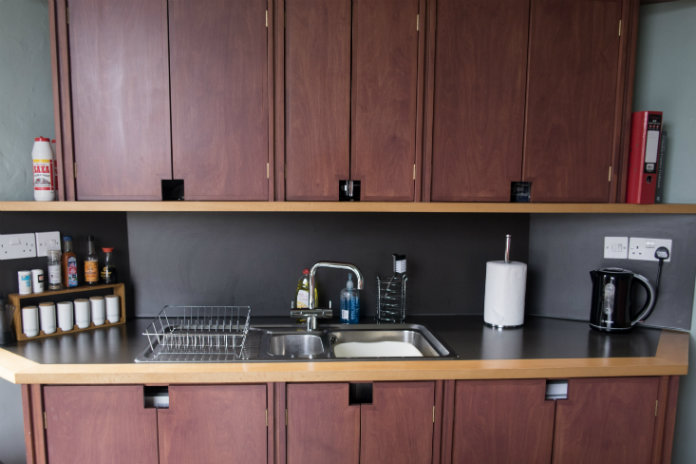 The modern well equiped kitchen at Castle House, Taunton, Somerset, UK