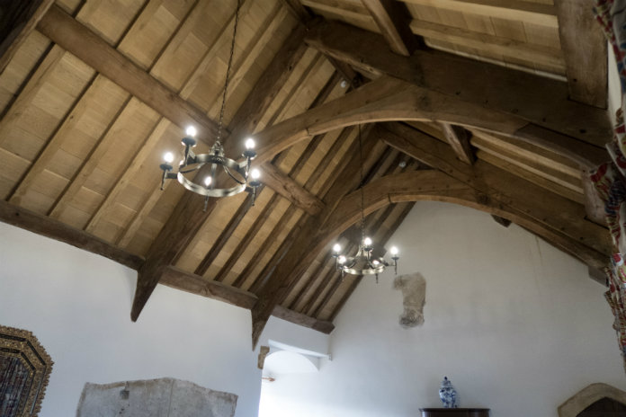 The dramatic high ceiling in the Tudor Hall at Castle House, Taunton, Somerset, UK