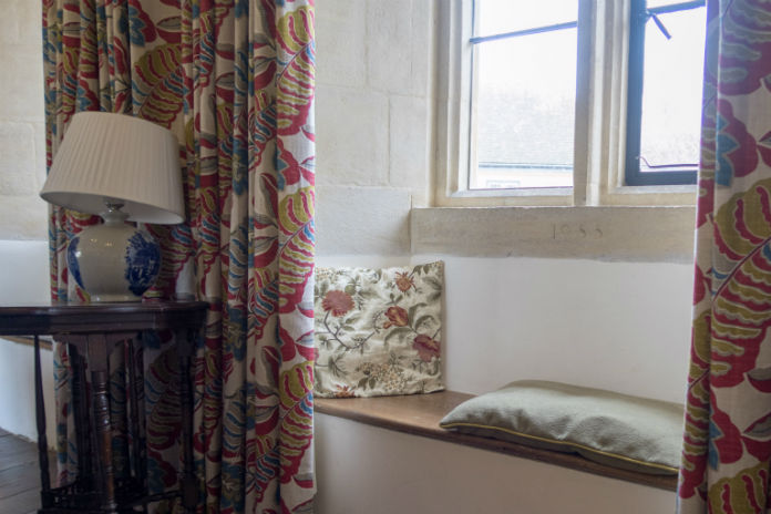 A cosy window seat at Castle House, Taunton, Somerset, UK