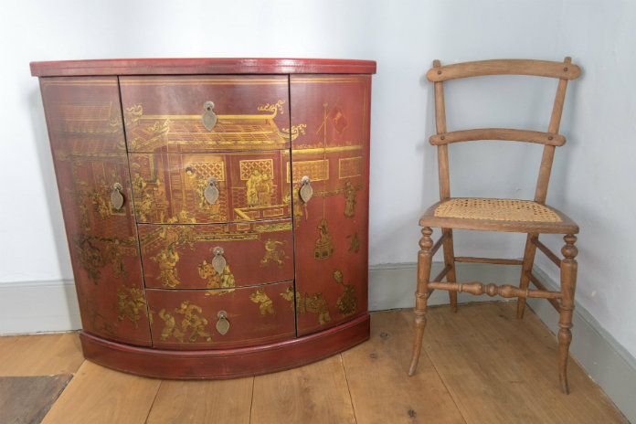 An antique lacquered chest at Castle House, Taunton, Somerset, UK