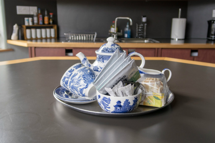 A welcome tray of tea, coffee and biscuits at Castle House, Taunton, Somerset, UK