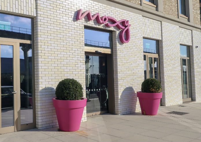 The exterior of the Moxy London Excel hotel