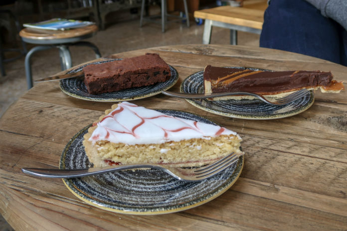 A delicious selection of cakes from the cafe at Sheppy's House of Cider near Taunton, Somerset