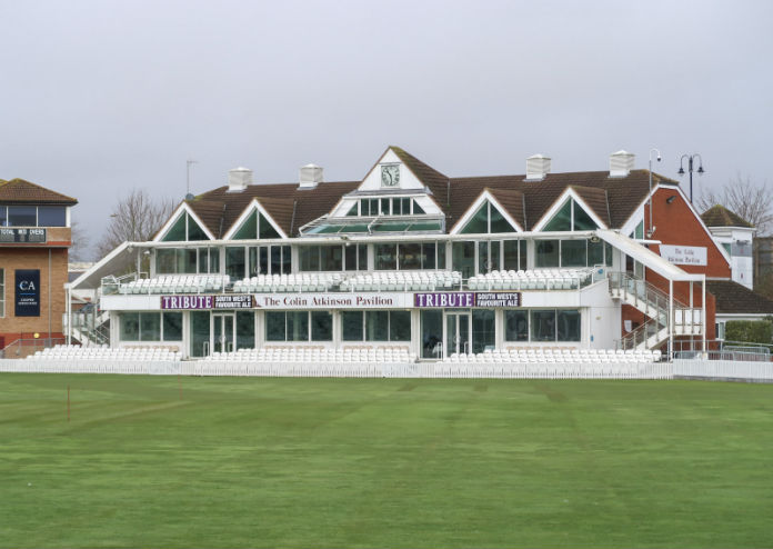 The Colin Atkinson Pavilion at the County Cricket Ground, in Taunton, Somerset