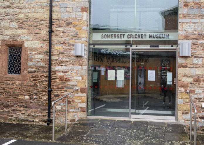 The entrance to the Somerset Cricket Museum in Taunton, Somerset