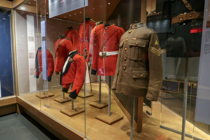 A display of army uniforms inside the Somerset Military Museum in Taunton