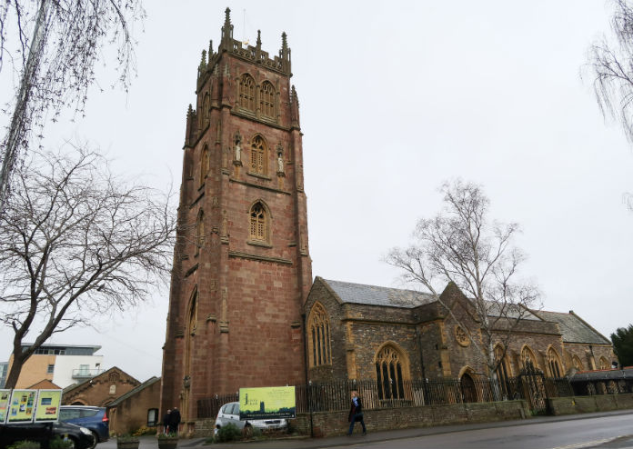 St James' church, which overlooks the County cricket ground in Taunton, Somerset