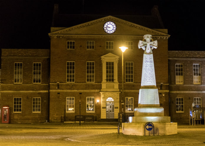 A night time view of Taunton town centre, in Somerset