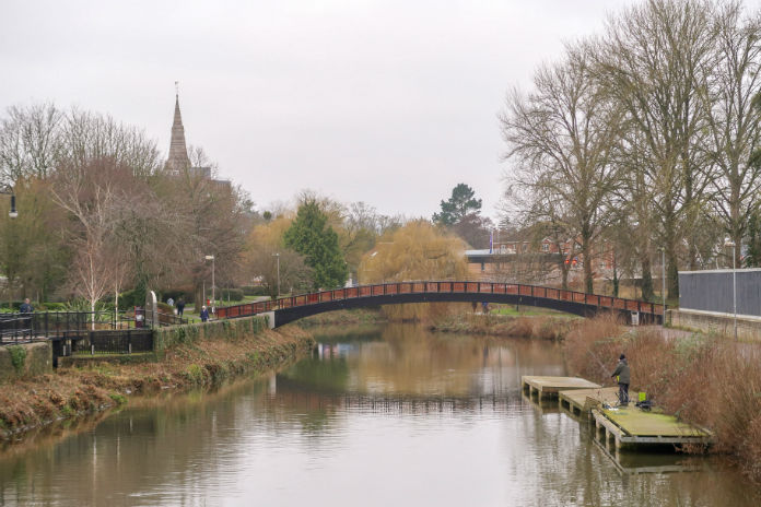 A view over the river in Taunton, Somerset, UK
