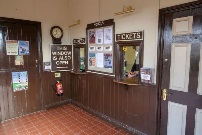 The ticket office at the Bishops Lydeard station on the West Somerset Railway, near Taunton in Somerset