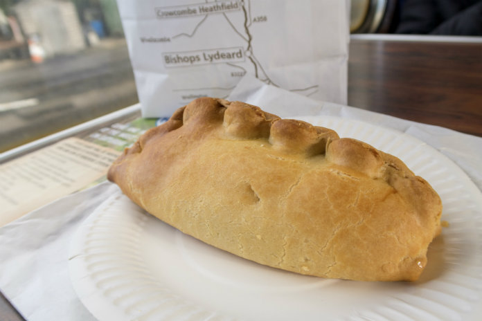 My delicious hot, hand-made West Country pasty, which I ate for lunch on the West Somerset Railway