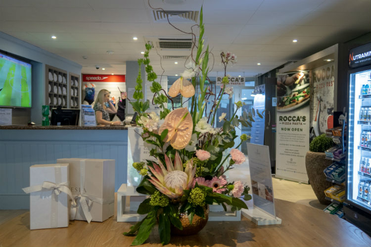 A beautiful flower arrangement in the reception area at the Belfry Spa, Warwickshire, UK