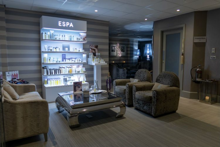 The reception area near the treatment rooms at the Belfry Spa