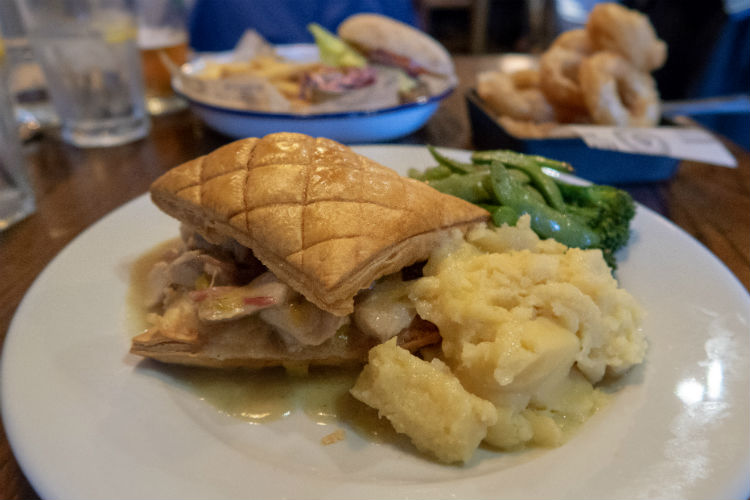 Chicken, Ham Hock and Weissbier pie at the Brewhouse & Kitchen in Lichfield, UK