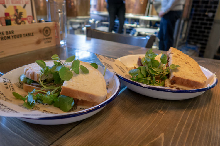 Lunchtime sandwiches at the Brewhouse & Kitchen, Lichfield, UK
