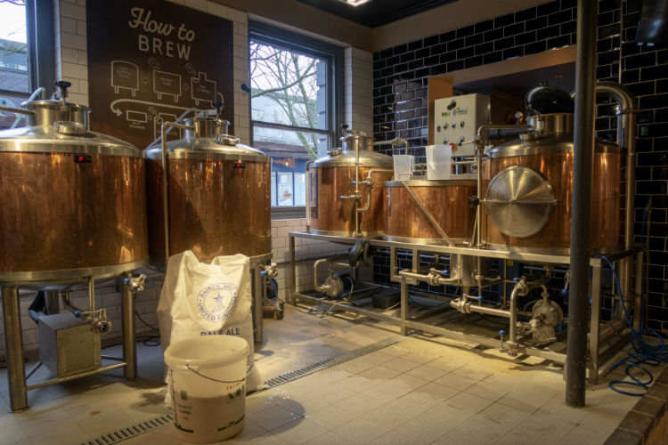 The microbrewery at the Brewhouse & Kitchen, Lichfield, UK