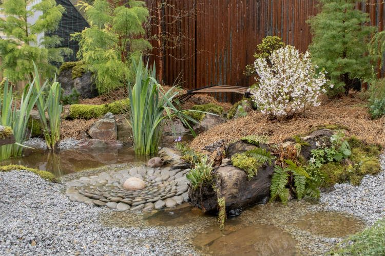 A water feature details in Disequilibrium - one of the show gardens at RHS Cardiff 2018