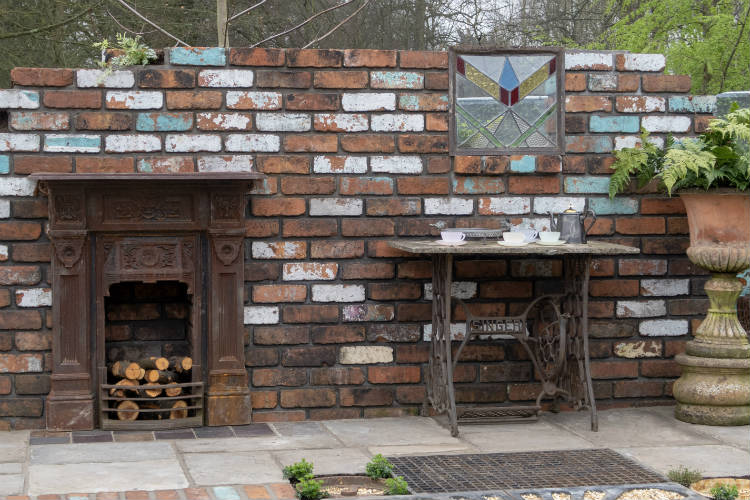 Reclaimed fireplace and wall in the Reimagined Past Show Garden at RHS Flower Show Cardiff 2018
