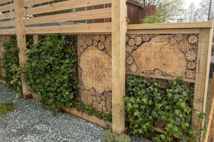 Wildlife houses in Suburban Euphoria, a contemporary design show garden at the RHS Flowershow Cardiff 2018