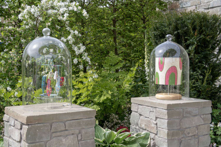 Royal Worcester Porcelain under glass bell jars in The Collector's Garden, RHS Malvern Spring Festival 2018