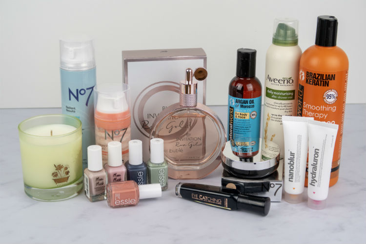 A selection of beauty products for hair, skin and nails.