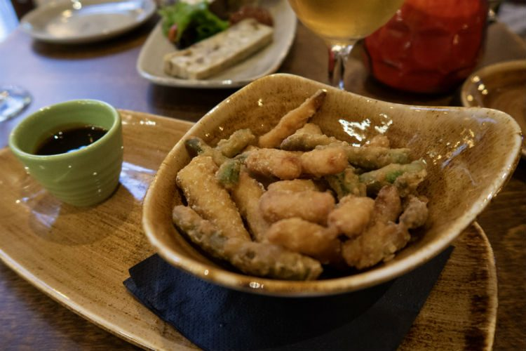 A dish of Tempura Vegetables with teriyaki dipping sauce at the Head of Steam, Birmingham