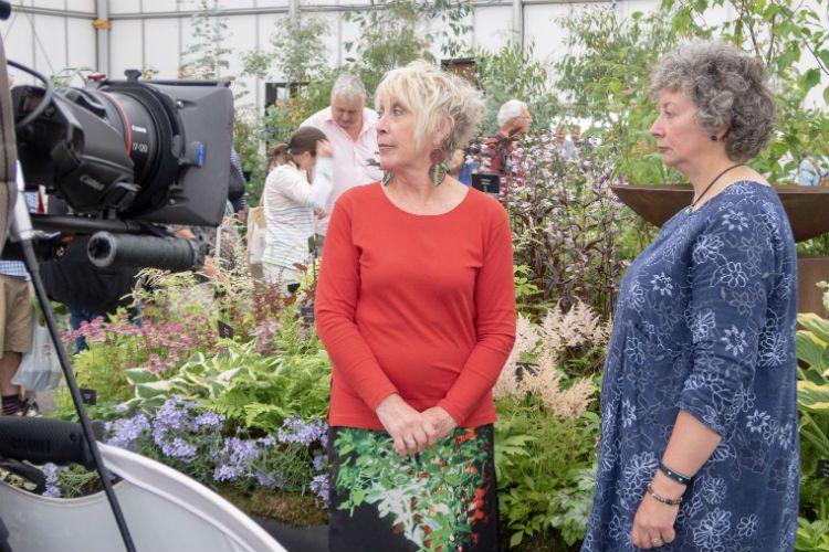 Carol Klein filming on location at BBC Gardeners' World Live 2018