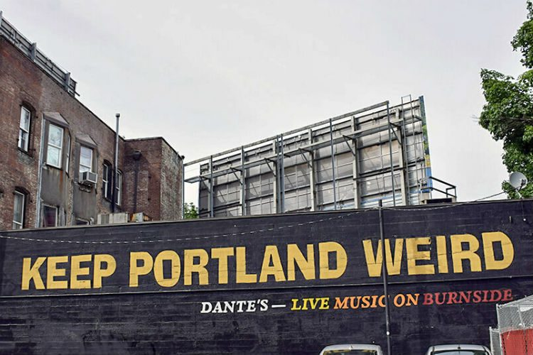 Keep Portland Weird mural in Portland, Oregon, USA