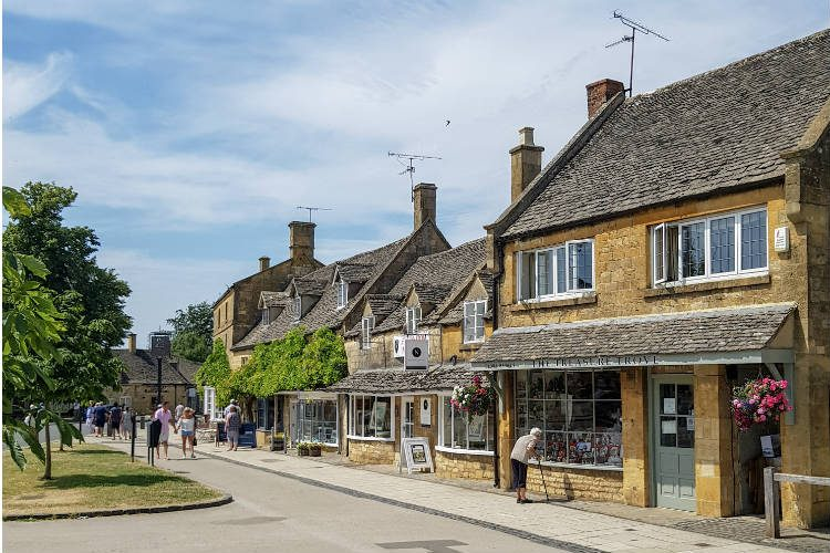 A row of shops in the village of Broadway in the Cotswolds, UK