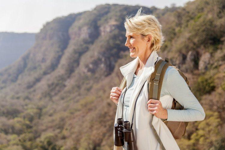 A stylish woman traveller aged 50 plus