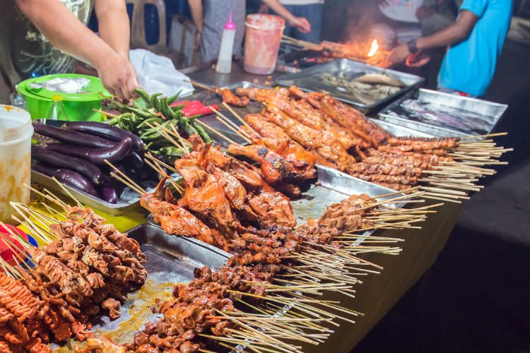 Traditional Philippines street barbeque banquet at Coron Town, Busuanga Island