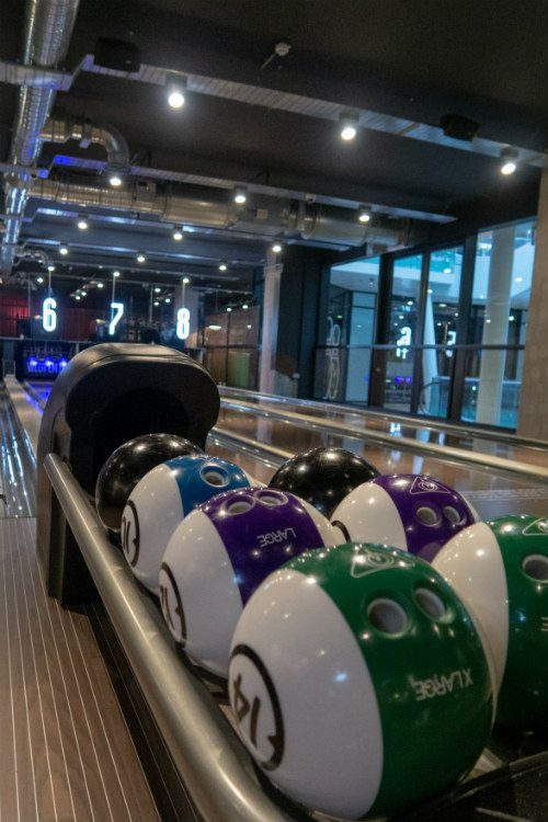 Bowling balls ready to be used at Lane 7 Birmingham