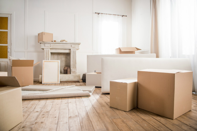 An room full of packing boxes ready for the owners to move out