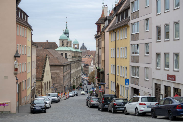 Looking down a street in Nuremberg towards the Old Town Hall